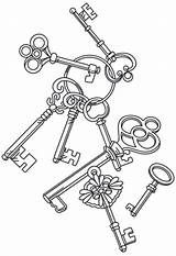 Key Coloring Pages Steampunk Embroidery Keys Heart Adult Skeleton Designs Drawing Patterns Urban Urbanthreads Colouring Cascade Unique Threads Tattoo Machine sketch template