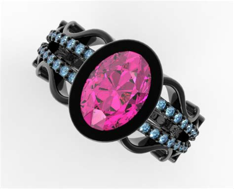 Black Gold Pink Sapphire Engagement Ring