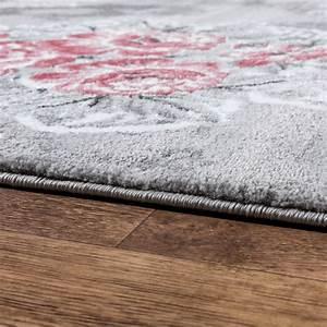 designer teppich edel mit vintage blumen muster meliert in With balkon teppich mit tapete rosa blumen
