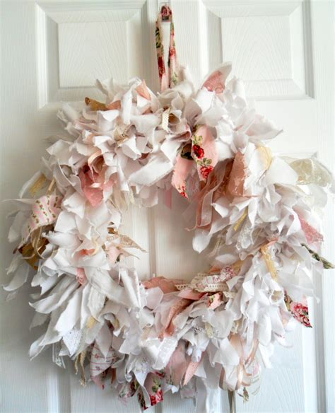 shabby chic fabric wreath large fabric wreath rag wreath shabby chic wreath wedding