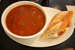 Prosciutto, camembrie and apple on roll with Tomato Soup ...