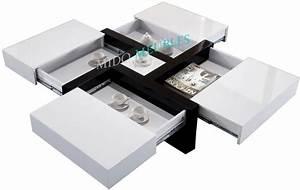 Table Basse Carrée Blanc Laqué : table basse carr e avec 4 compartiments ~ Teatrodelosmanantiales.com Idées de Décoration