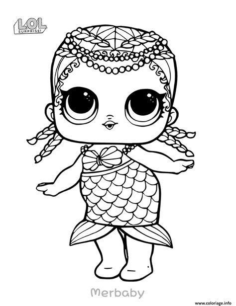 coloriage mermaid lol surprise doll merbaby jecoloriecom