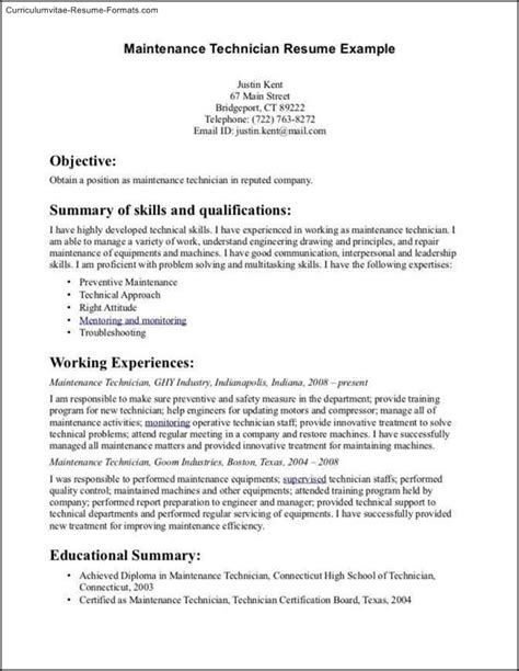 Building Maintenance Experience Resume by Maintenance Resume Template Free Sles Exles