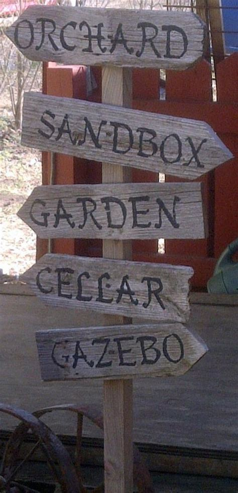 arrow sign garden personalized hand painted recycled wood
