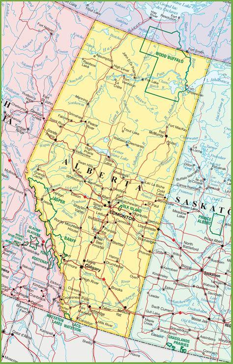 detailed map  alberta  travel information