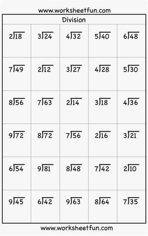 transparent division worksheets  grade math