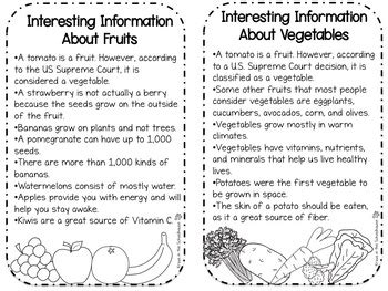 compare  contrast fruits  vegetables  kraus