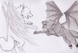 Wolf With Wings Drawing