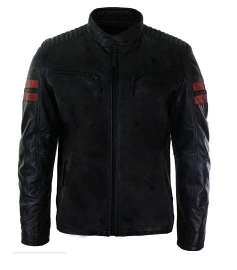 Racing Jacket by Mens Real Leather Biker Racing Jacket Stripes Zip