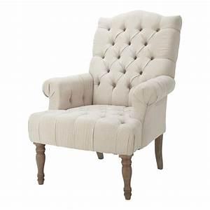 Fauteuil Bergère Maison Du Monde : fauteuil capitonn en lin dorchester maisons du monde ~ Zukunftsfamilie.com Idées de Décoration