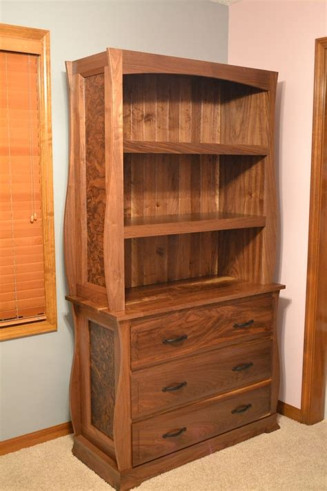 Custom Walnut Dresser With Bookcase By O'donnell Woodcraft