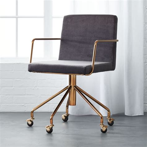 rouka velvet office chair cb2