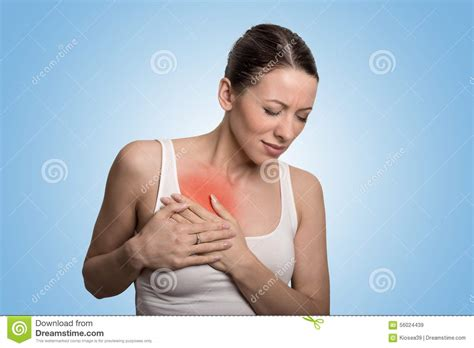 Young Woman With Chest Breast Pain Colored In Red Stock