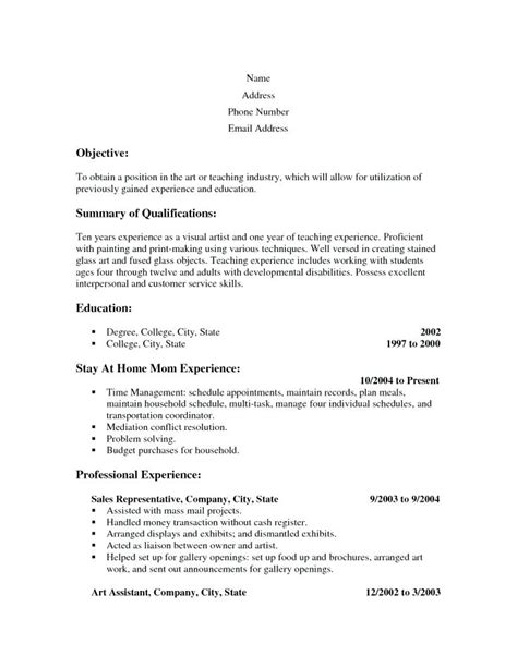 Resumes For Stay At Home by Resume Sles For Stay At Home Wikirian