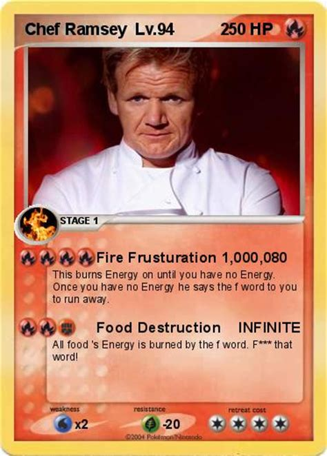 Gordon Ramsay Memes Pokemon - pok 233 mon chef ramsey lv 94 2 2 fire frusturation 1 000 0 my pokemon card