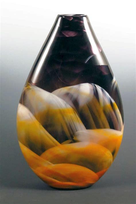 amber black white teardrop vase  mark rosenbaum art