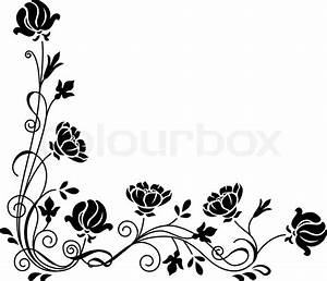 Stylized black and white floral swirl branch Stock
