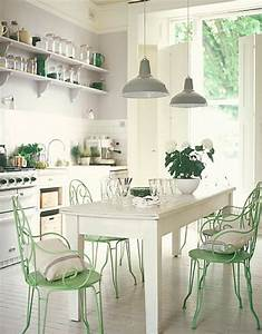 shabby chic white and mint kitchen interiors by color With decoration terrasse de jardin 11 cuisine vert deau
