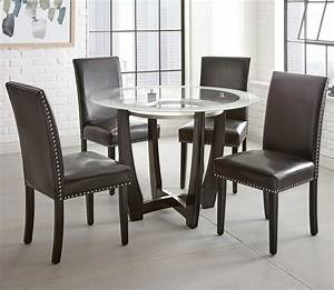 Steve, Silver, Verano, 5pc, Contemporary, 45, U0026quot, Round, Glass, Top, Dining, Table, Set, With, Black, Chairs