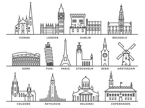 european cities landmarks city drawing doodle art city