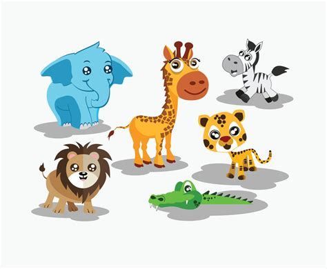 Cute Cartoon Animals Vector Vector Art & Graphics