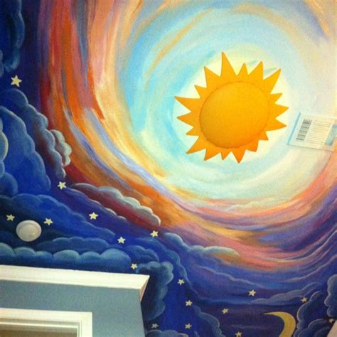painted this my s ceiling it s a nighttime sky going into a daytime sky and i bought the