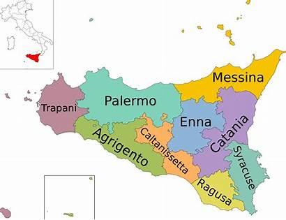 Sicily Map Italy Wikimedia Provinces Region Reproduced
