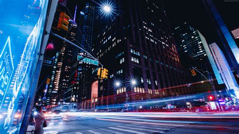 wallpaper  york city street long exposure