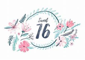 Sweet 16 Watercolor Background Download Free Vector Art, Stock Graphics & Images