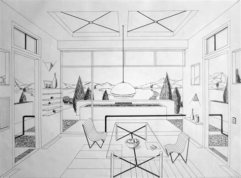 One Point Perspective Living Room Drawing : Free-hand Drawing, Arch 1341, Fall 2012