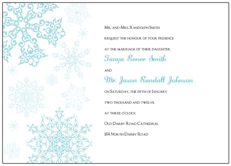 printable snowflake wedding invitations