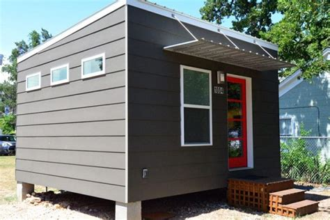 square foot contemporary tiny house  sale  austin