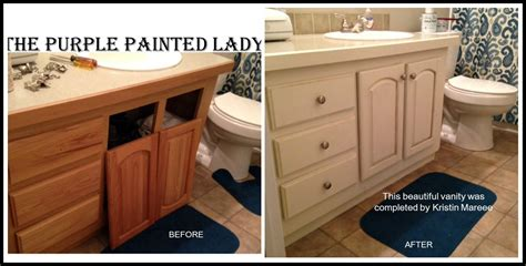 painted bathroom cabinets before and after do your kitchen cabinets look tired the purple painted lady