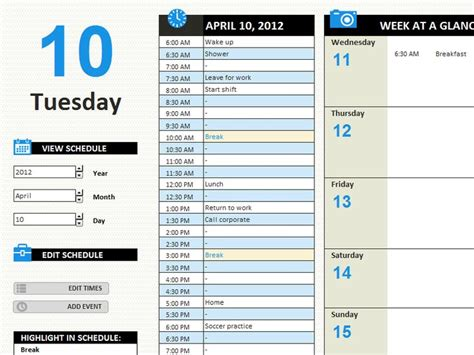 daily work schedule templates officecom  images
