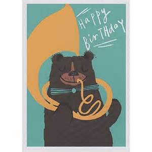 paper earrings and tuba happy birthday card ac006