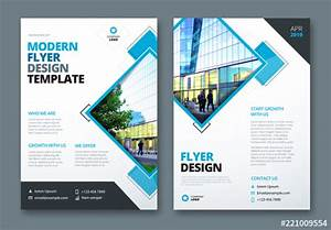Flyer Layout With Layered Diamond Shapes  Buy This Stock