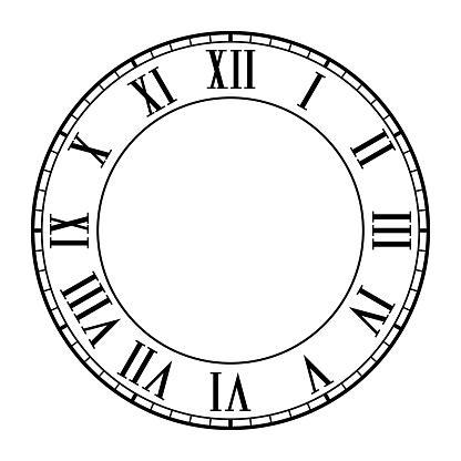 clock face  roman numerals stock illustration