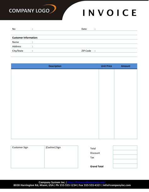 plumbing invoice template  microsoft word templates