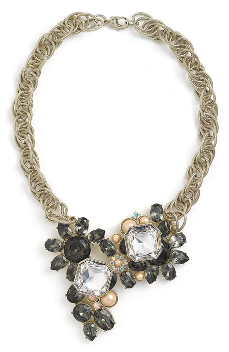 st john collection faux pearl faceted glass necklace