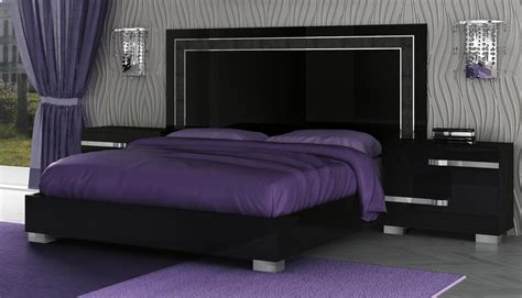 Volare King Size Modern Black Bedroom Set 5pc Made In