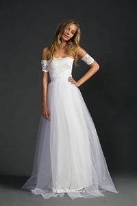 strapless floor length long ivory lace tulle a line With ivory a line wedding dress