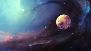 Space Nebula Planet Moon Stars Art HD Wallpaper ...