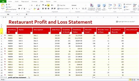 5 Restaurant Monthly Profit And Loss Statement Template