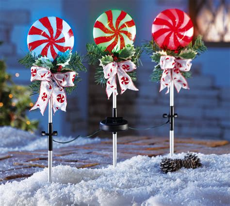 set   peppermint holiday solar powered stake lights