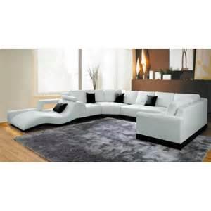 canap 233 panoramique cuir blanc avec m 233 ridienne achat