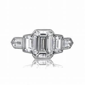 201ct estate emerald cut diamond engagement ring With emerald cut diamond wedding rings