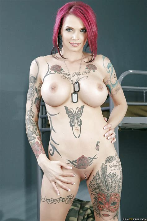 Busty Tattoo Model Anna Bell Peaks Stripping Naked In Army Barracks