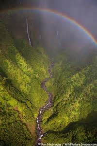 Kauai Hawaii Waterfall with Rainbow