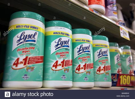 Disinfecting wipes on grocery store shelves ready for